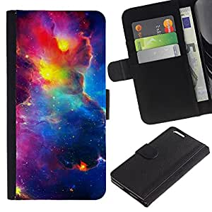 For Apple iPhone 6 Plus(5.5 inches),S-type® Vibrant Space Sky Universe Cosmos Nebulae - Dibujo PU billetera de cuero Funda Case Caso de la piel de la bolsa protectora