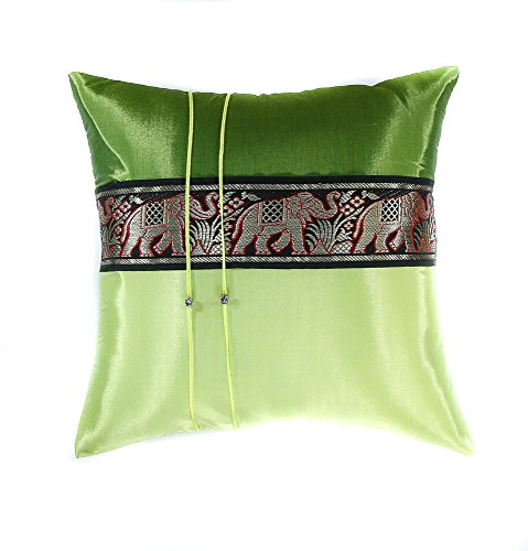 Narphosit 2 Tone Color Elephant Stripe Throw Pillow Cover Decorative Sofa Couch Cushion Cover Zippered 16x16 Inch (40x40 Cm) (green) (French Setee)