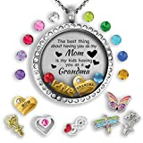 Grandma Gifts For Christmas 2018   Mother Daughter Necklace Floating locket necklace Grandma Jewelry Grandma Mom Quote Necklace Gift for Mom from Daughter – Gifts For Grandma Mom Necklaces for Women