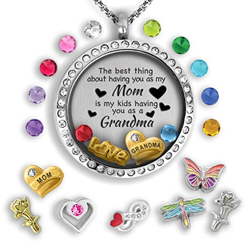 (Grandma Gifts For Christmas 2018 | Mother Daughter Necklace Floating locket necklace Grandma Jewelry Grandma Mom Quote Necklace Gift for Mom from Daughter - Gifts For Grandma Mom Necklaces for Women)