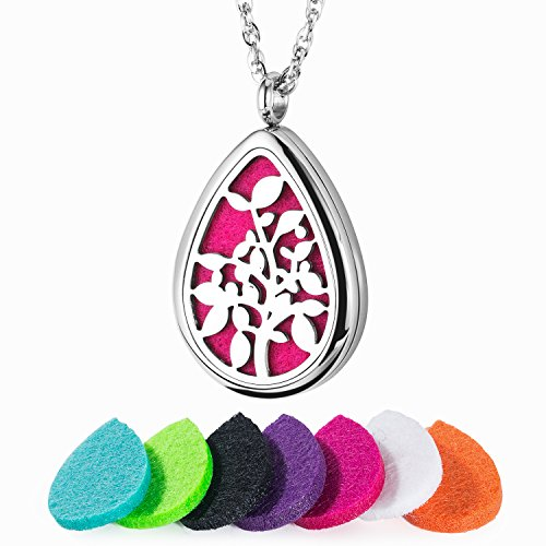 - Essential Oil Diffuser Necklace 316L Stainless Steel Teardrop Aromatherapy Locket with 24