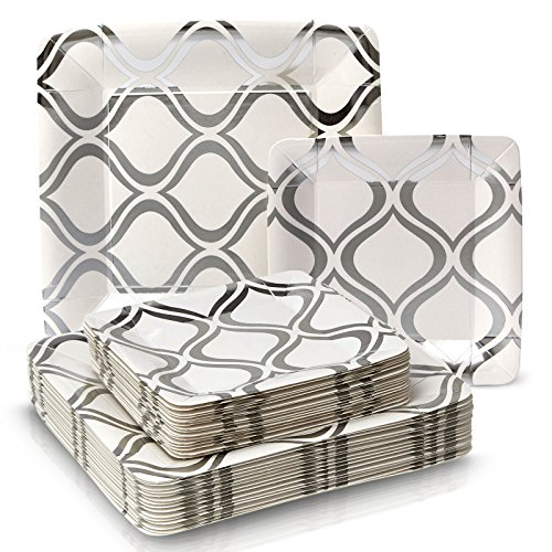 PARTY DISPOSABLE 36 PC DINNERWARE SET | 18 Dinner Plates | 18 Salad or Dessert Plates | Heavy Duty Paper Plates | for Upscale Wedding and Dining | Square Metallic Silver - Moroccan Collection by Silver Spoons