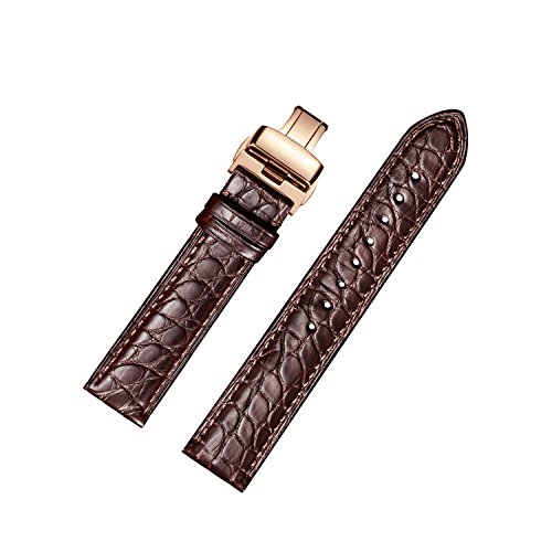 Crocodile Watch Strap (EHHE ZPF Alligator Leather Watch Bands with Rose Gold Deployment Buckle for Men and Women 18mm-24mm)