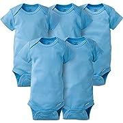 Gerber Baby Boys' 5 Pack Onesies, Solid Blue, 0-3 Months