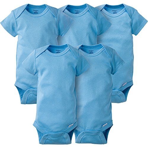 Gerber Baby Boys' 5-Pack Short-Sleeve Onesies Bodysuit, Solid Blue, 0-3 Months