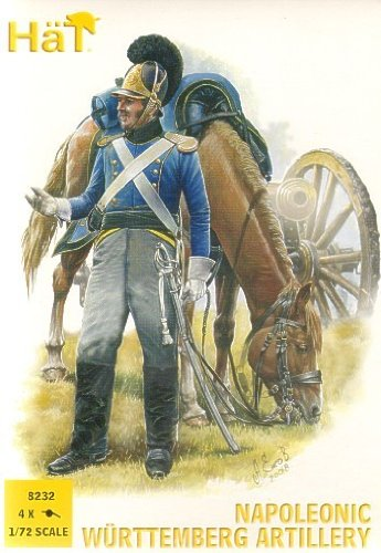 (Napoleonic Wurttemberg Artillery (16 Figures & 4 Cannons) 1/72 Hat )