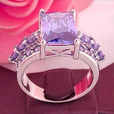 Anillo de nudillo para mujer de plata de ley 925 con diamantes de imitaci/ón morados