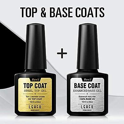 Amazon.com: Modelones Gel Nail Polish No Wipe Top and Base Coat Set ...