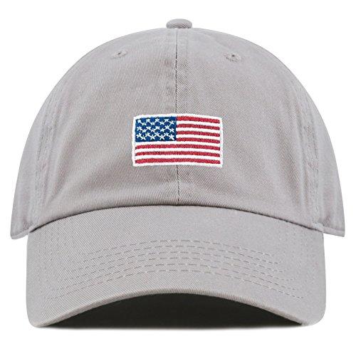 The Hat Depot Washed 100% Cotton America Flag Low Profile Adjustable Strap Baseball Cap Hat (Flag-Grey)