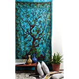 Hippy Tapestry Green Tree of Life Bohemian Wall Hanging Hippy Tapestries Home Decorative Wall Hangings Cotton Curtains Bedspread Dorm Room Divider By Rajrang