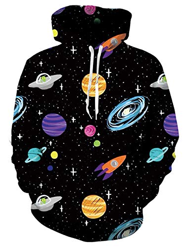 Hoody Mens Casual Sweatshirts - Uideazone Casual Cool Spaceship Hoody Sweatshirts for Couples 90s 3D Print Space Graphic Fleece Hoodys Long Sleeve Large
