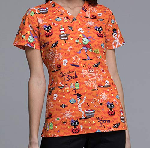 CK616 PAMS L Cherokee Halloween Uniform Scrub Nurse Women's V-Neck Top Party Monster ()