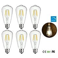 Pack of 6 ST64 LED Vintage Filament Edison Light Bulb 4W Dimmable Antique Edison Light Bulbs E26 120V 2700K Warm White Lights