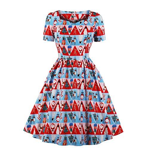 Wellwits Women's Sweetheart Ugly Christmas Pattern 1950s Vintage Swing Dress 3XL