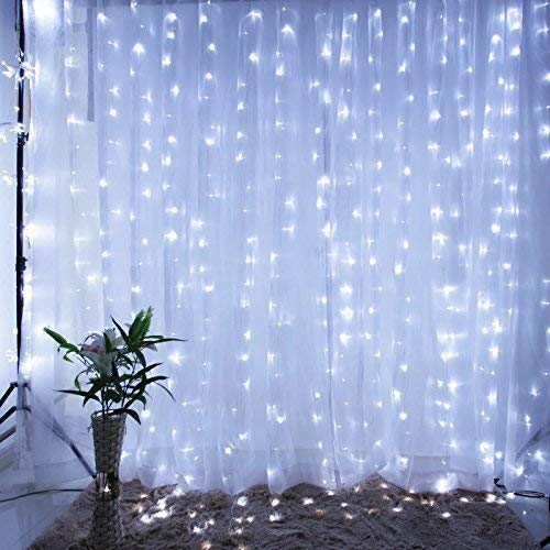 IMAGE Curtain Lights 9.8x6.6 Feet 224 LED String Lights Fairy String Lights for Wedding Party Home Garden Indoor Outdoor Wall Backdrops Decorations Waterproof UL Safety Standard White