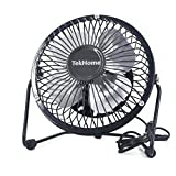 TekHome Mini 5-inch USB Table Personal Fan, Strong Wind w/ Quiet Operation, 360 Rotation Flexible Placement, Ultralight Metal Design, 3.3ft USB Cable Powered, Make You Cool As A Cucumber.(Black)