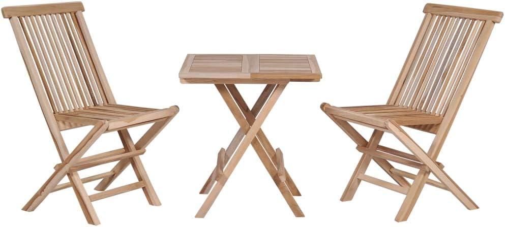 Festnight Table Bistro avec 2 chaises Exterieur Table et chaises Pliable  Jardin Salon de Jardin 3 pièces pour Balcon, Terasse en Teck Massif Marron