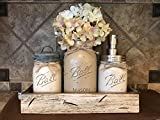 teal mason jar canisters - Ball Mason Jar CANISTER 5pc SET with galvanized lid Antique WHITE wood Tray ~Utensil matcha tea holder Soap Dispenser Kitchen Bathroom counter decor (flower optional) JARS Distressed Gray Tan Cream