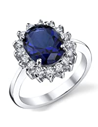 Metal Masters Co.® Solid Sterling Silver Kate Middleton's Engagement Ring with Blue Sapphire Cubic Zirconia Sizes 5 to 9