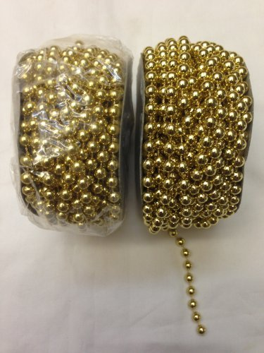 6mm Faux Pearl Plastic Beads on a String Craft Roll - Metallic Gold, Total 2 Rolls by Plush Image