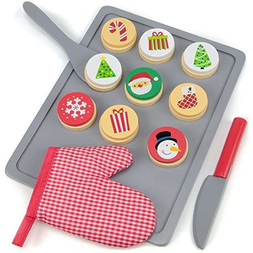 Wood Eats! Cookies for Santa Christmas Baking Playset with 9 Cookies, 9 Icing Designs, 3 Prep Tools and Baking Tray (22 pcs.) by Imagination Generation