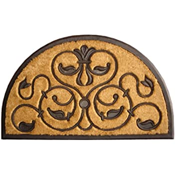 This Item Imports Decor Half Round Rubber Back Coir Doormat, Brigoder,  30 Inch By 48 Inch