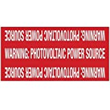 Hellermann Tyton 596-00207 Pre-Printed Solar Marker, 4'' X 2'', Reflective, Photovoltaic Power Source, Red (Pack of 25)