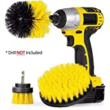 Original EZ Scrub Drill Brush 3 Piece Set (Yellow) - All Purpose Power Scrubber Cleaning Brush for Grout, Floor, Bathroom Tile, Kitchen, Outdoor