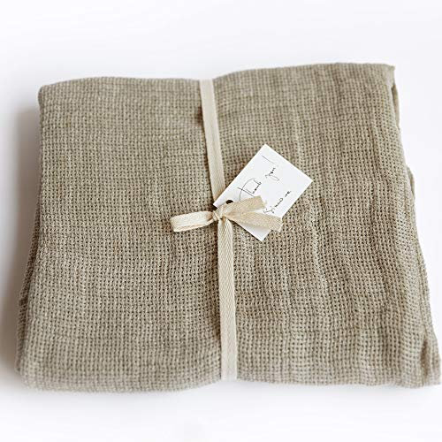 Washed Checkered 100% Linen Towel - 28
