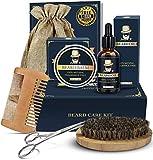 Beard Kit for Men, Beard Grooming Kit for Men Gift Set, Upgraded Beard Growth Kit - Beard Oil, Beard Balm, Beard Brush, Beard Comb, Beard Scissors Luxury Gift Box and E-Book, Beard Care Kit for Men