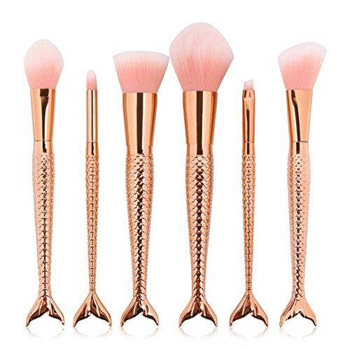 6Pcs Mermaid Makeup Brushes Rose Gold Cosmetics Brushes Foundation Powder Rainbow Eyeshadow Brush Kit MAG5393-5