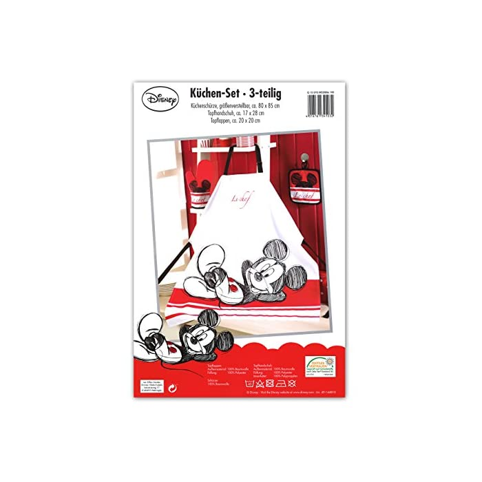 516rQRDwRyL Original Disney Mickey Mouse kitchen set in three parts 100% cotton high-quality apron set with oven glove and potholder size individual adjustable - for adults