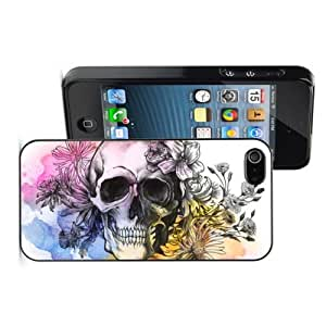 Apple iPhone 4 4S 4G Black 4B499 Hard Back Case Cover Water Color Skull with Flowers