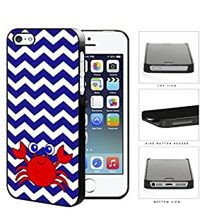Cute Red Crab And Blue Chevron Hard Plastic Snap On Cell Phone Case Apple iPhone 5 5s