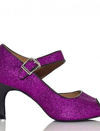 Personnalisables Bleu Talon de Brillante Paillette Salsa ShangYi Chaussures Blue Noir Paillette danse Jazz Violet Personnalisé Latine 50I0Ywpq