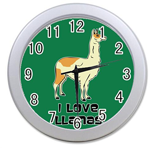 Dong Cun Bai I Love Llama Personalized Custom Alarm Clock Children Bedroom Custom Wall Clock Black Unique Custom Wall Clock