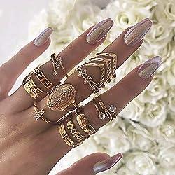 Women's Gold Rhinestone Finger Rings Set