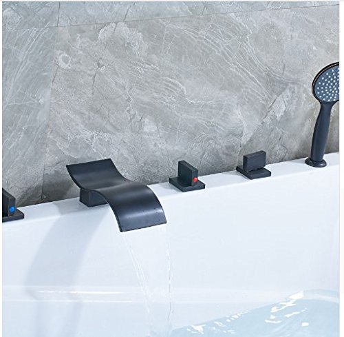 Gowe Unique Brass Widespread Waterfall Spout with Plastic Handshower Bathroom Faucet ()