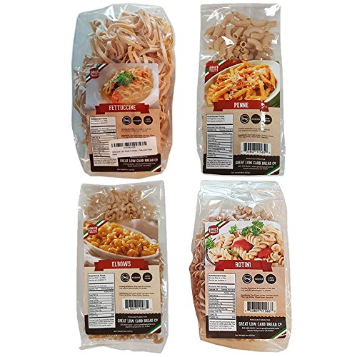 4 Pack Assortment Low Carb Pasta, Fettuccine, Rotini, Penne, and Elbows, Great Low Carb Bread -