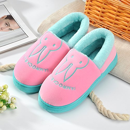 Aemember Bag Of Cotton Slippers With Couples Home Soft Thick Bottom Bottom Skid In Winter Indoor Home Furnishing Shoes,36-37 (Fit For 35-36 Feet),Pink (Quan Bao)