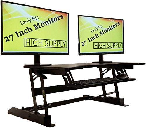 Two Monitors 1 Piece (Standing Desk Height Adjustable Stand - Up Sit Stand Desks Converter Standup Workstation Fits Big Monitors 36