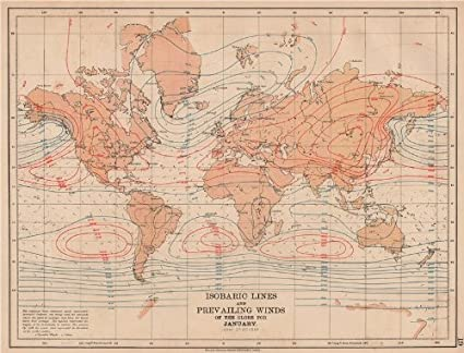 Amazon.com: WORLD. Isobaric lines & Prevailing Winds of the Globe ...