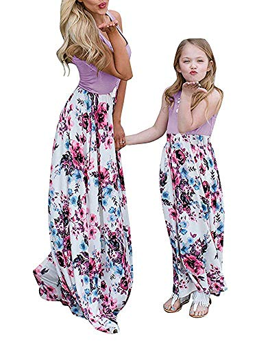 Geckatte Mommy and Me Dresses Casual Floral Family Outfits Summer Matching Maxi Dress (Mom-Small, Purple) -