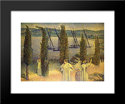 Coastal View with Cypress Trees 20x24 Framed Art Print by Henri-Edmond Cross