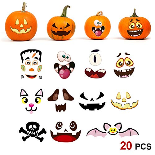 Halloween Pumpkin Face Designs (yosager Halloween Pumpkin Craft Stickers Jack O Lantern Pumpkin Face Trick or Treat DIY Party Decoration 20)