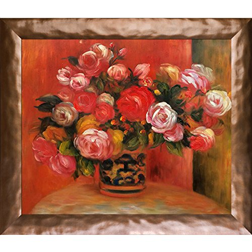 Roses in a Vase 1914 by Renoir Artwork, Copper Gloss Frame