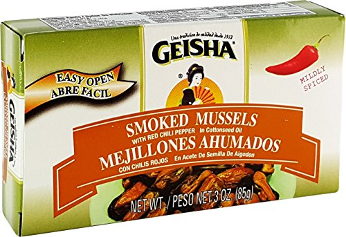 Smoked Mussels with Red Chilis, in Oil (Pack of 3), 3 oz Tin - Geisha