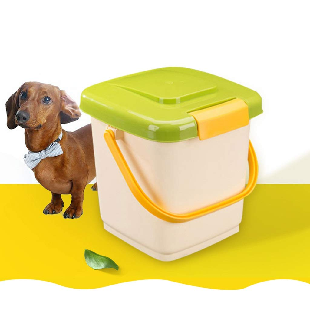 12L Environmental PP Food Storage Container with 1 Food Shovel Dry Food Flour Rice Dispenser Handle Design Pet Green Yellow Dog Food Bin Large Containers with Lids &Scoop Dog Food Container 4KG 6KG
