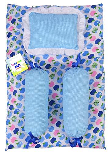 Toddylon New Born Baby 4 Pcs Bedding Set Sleeping Essential Mattress with Pillows (0-6 Months) Blue