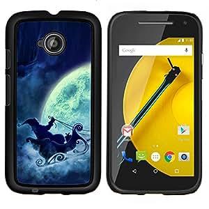 YiPhone /// Prima de resorte delgada de la cubierta del caso de Shell Armor - Papá Noel Luna Llena trineo - Motorola Moto E2 E2nd Gen
